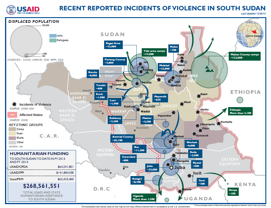 South Sudan Crisis Map December 30, 2013