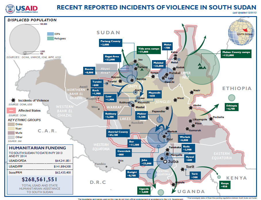 South Sudan Crisis Map December 31, 2013