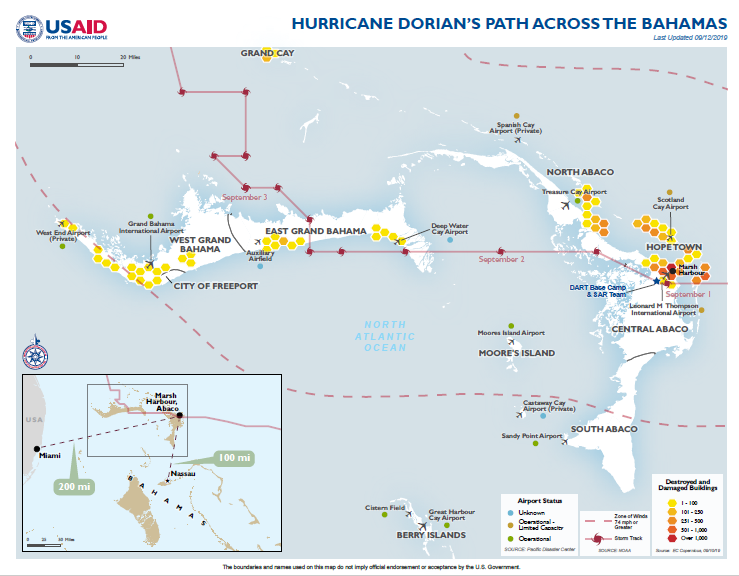 The Bahamas - Hurricane Dorian Map #7, (FY) 2019