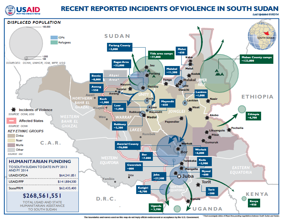 South Sudan Crisis Map #8 January 2, 2014