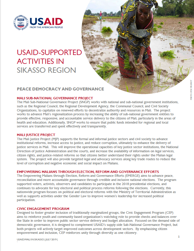 USAID-supported Activities in Sikasso Region