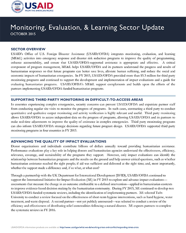 USAID/OFDA Monitoring, Evaluation, & Learning Sector Update