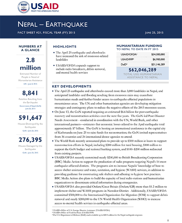 Nepal Earthquake Fact Sheet #21 - 06-25-2015