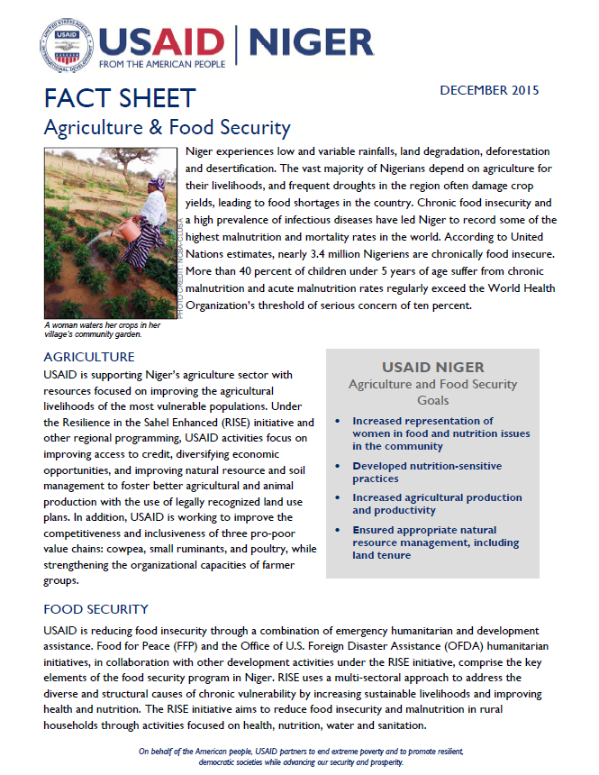 USAID Niger Agriculture and Food Security fact sheet