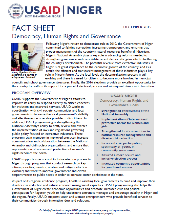 USAID Niger Democracy, Human Rights, and Governance fact sheet