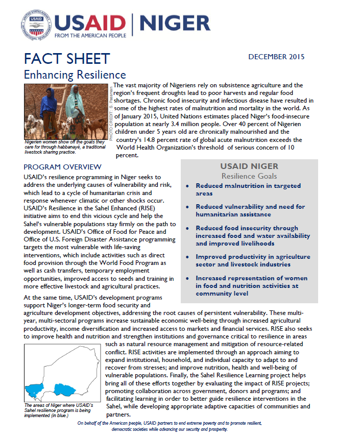 Niger - Enhancing Resilience Fact Sheet