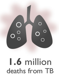 Graphic of a pair of lungs. 1.6 million deaths from TB
