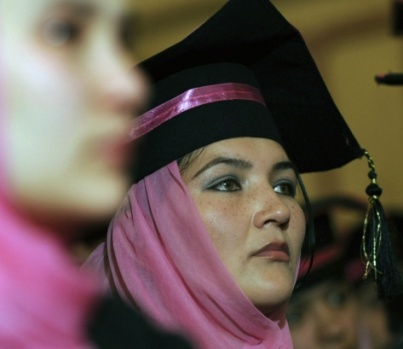Afghan midwife attending her graduation ceremony in Kabul.