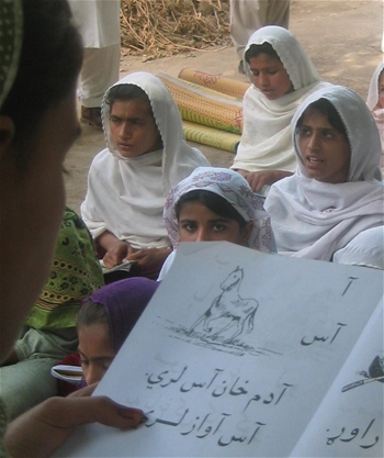 Of the six million children enrolled in primary and secondary school, 35 percent are girls.