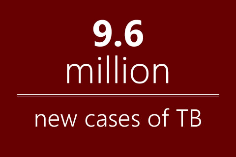 9.6 million new cases of TB