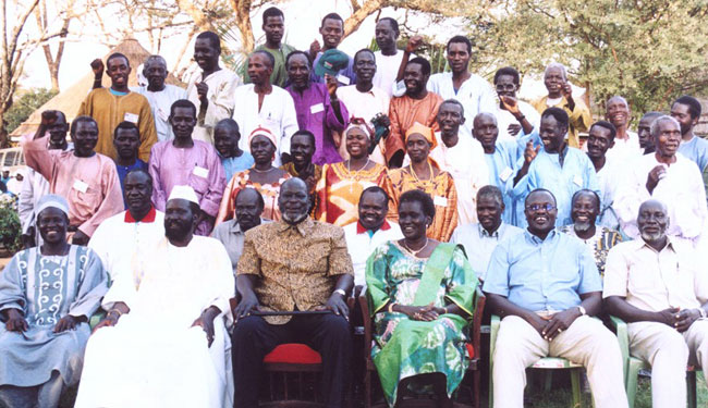 Chiefs and other leaders from South Sudan gathered in July 2004 as part of the process leading to the Comprehensive Peace Agreem