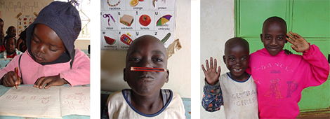 Photos of a child writing, a child with a pencil on their nose and a photo of two children waving.