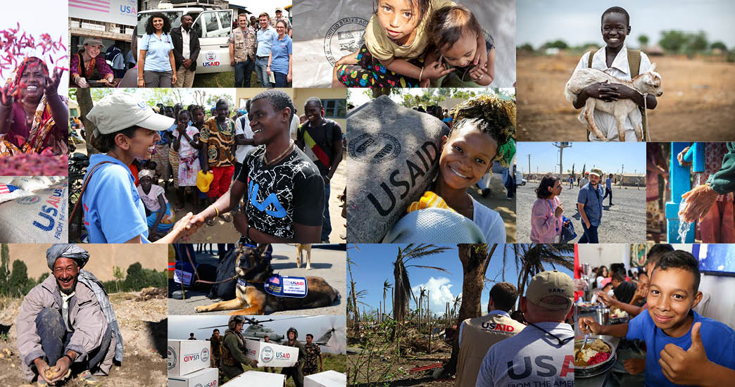 photo collage showing recipients of USAID's humanitarian assistance