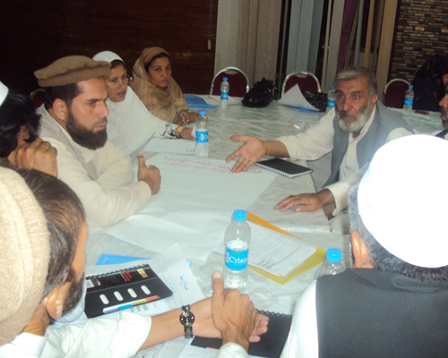 Afghan elders and district-level government justice representatives meet to develop alternatives to harmful practices such as ba