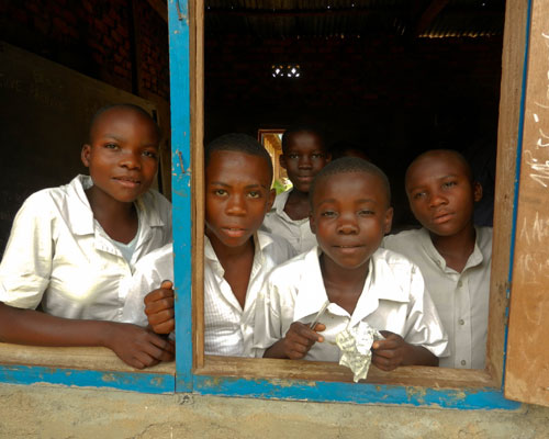 Above and below: Students in the Democratic Republic of Congo, such as the Bunyakiri High School students shown here, are being