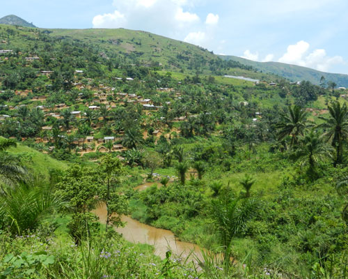 The view from outside Bunyakiri High School, South Kivu, Democratic Republic of Congo. The village of Bunyakiri is more than a t