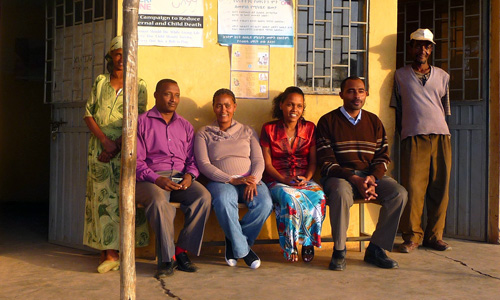 Wubalem Bezabih and Fetelwork Gezahegn, center, are two of Ethiopia's roughly 35,000 health extension workers.
