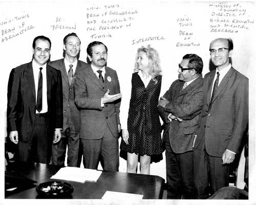 In 1970, Hal Freeman, second from left, took a small group of deans from Tunisia's University of Tunis on an academic study tour