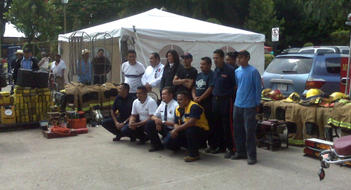 Members of the Rioverde Volunteer Fire Department displayed donated fire equipment at a public ceremony in 2008