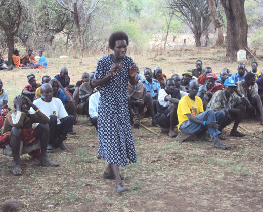 Maria Nakut, peace committee member from Moroto district, at a community dialogue.