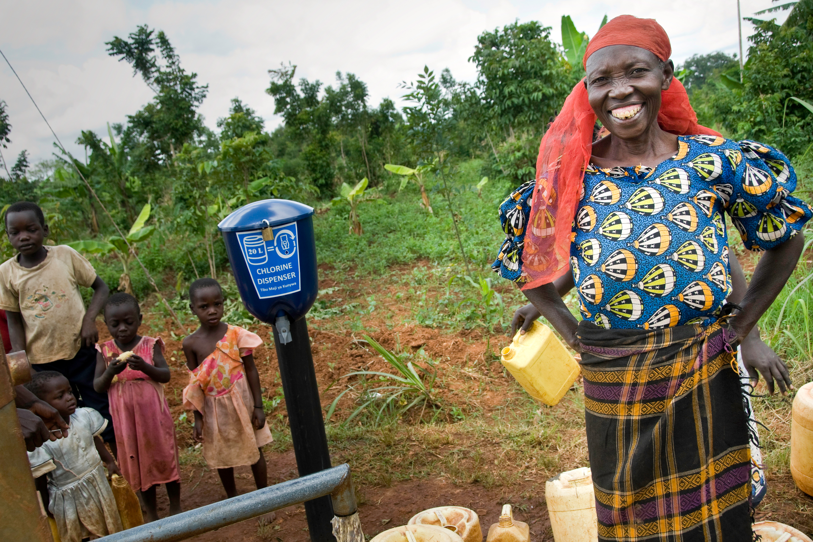 Evidence Action Dispensers for Safe Water Photo