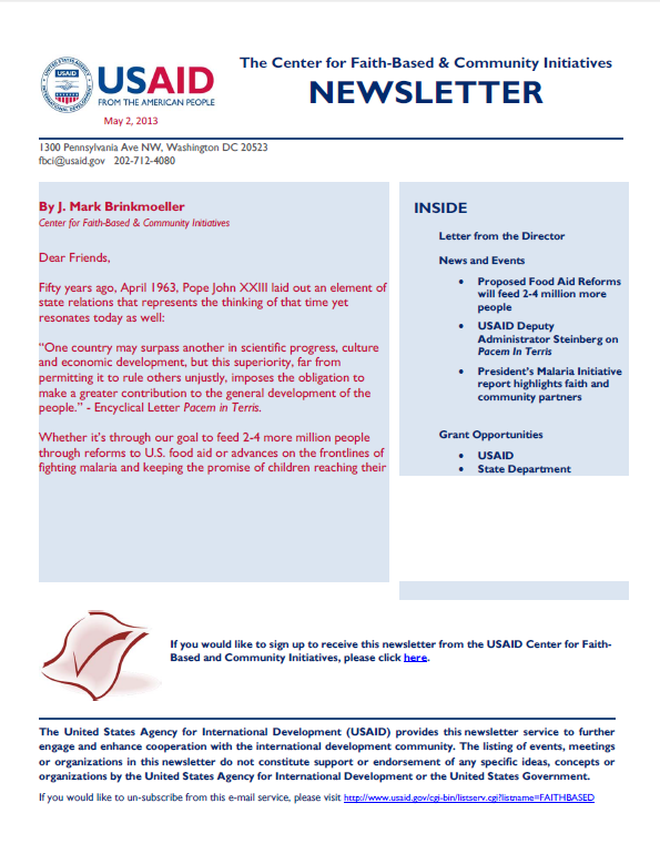CFBCI Newsletter Cover May 2, 2013