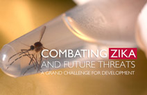Photo of a mosquito in a test tube and the words Combating Zika and Future Threats