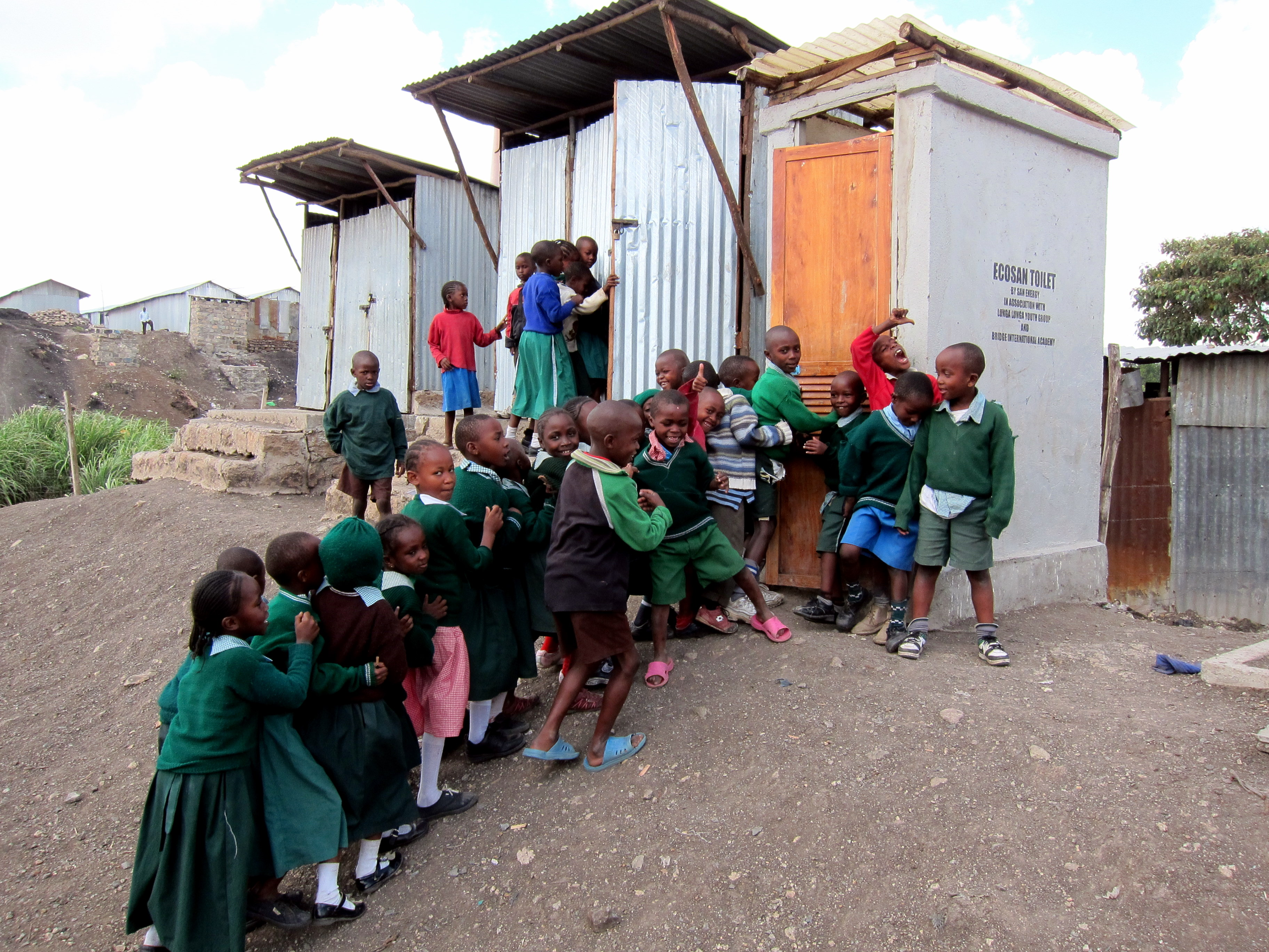 Children Waiting to Use Sanergy Toilet