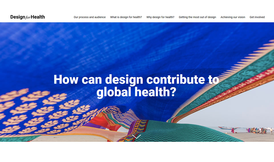 Screenshot of the DesignforHealth website, reading: How can design contribute to global health?