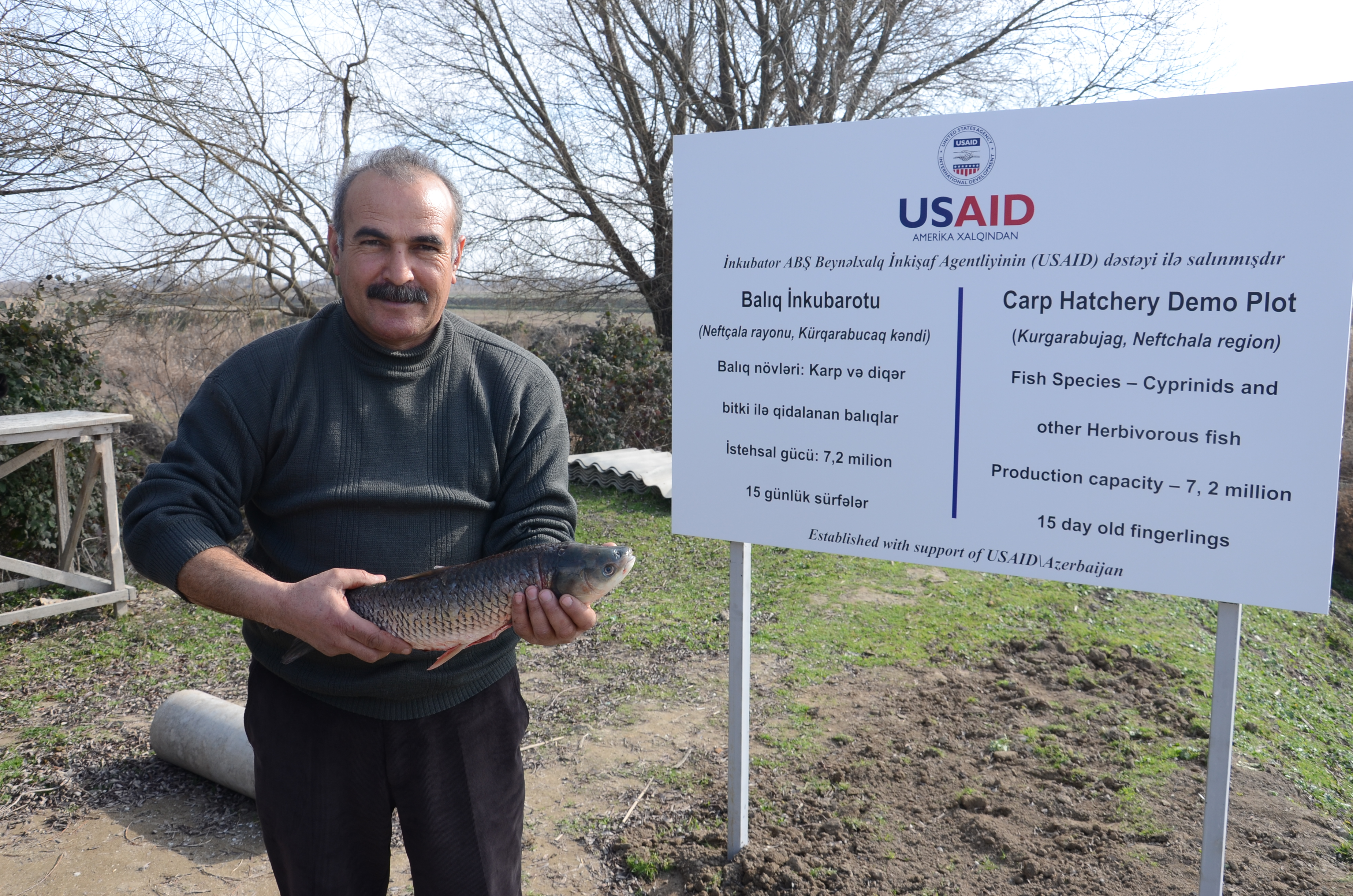 USAID helped Mr. Badalov reconstruct his carp hatchery.