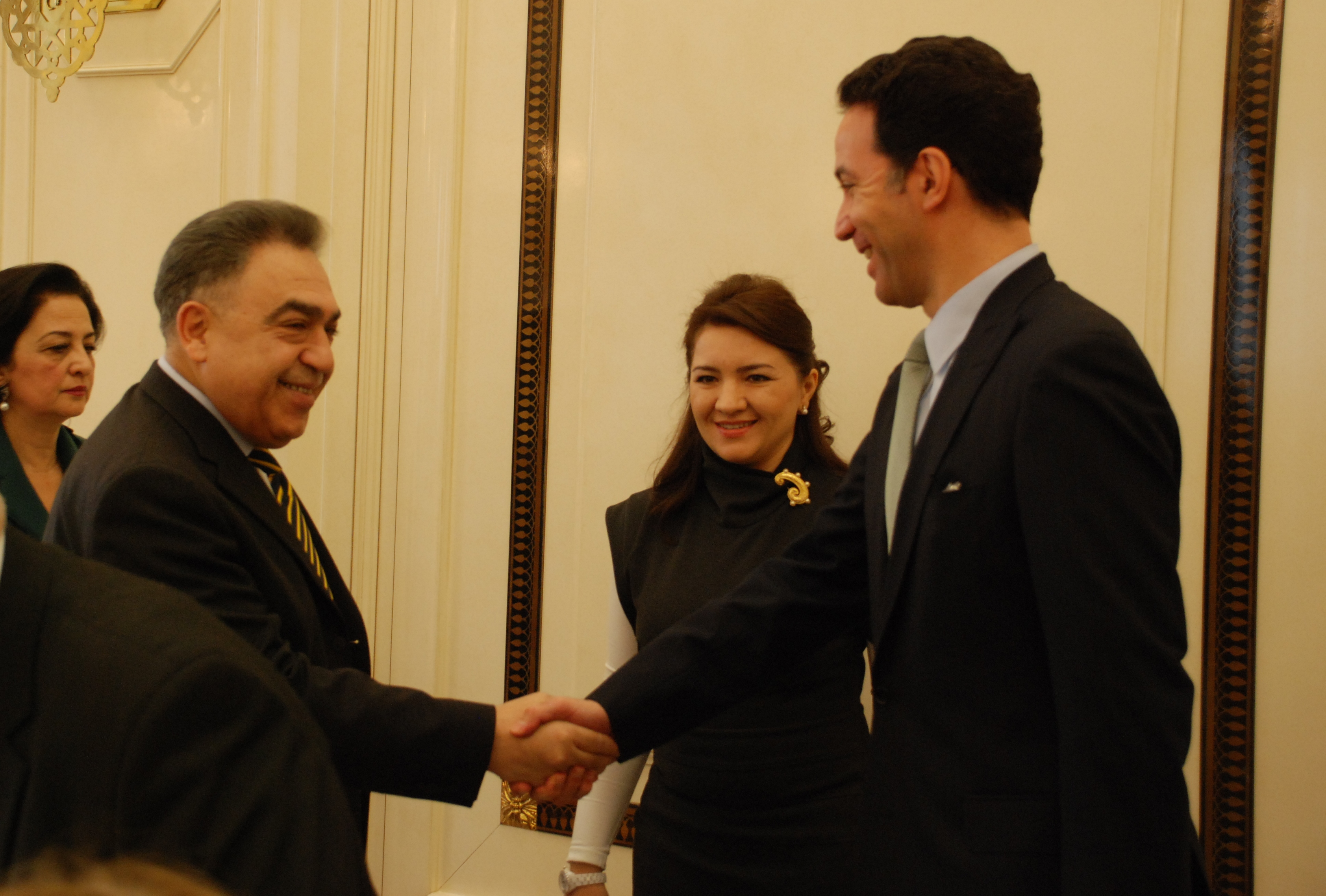 U.S. Charge d'Affaires greeting the Head of Administration of Azerbaijani Parliament
