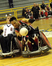 Quadrugby, a team sport for wheelchair-bound athletes, is played with four players from each team on a basketball court.