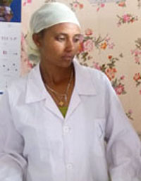 Two health extension workers at Endamariam Health Post in Enticho, Tigray.