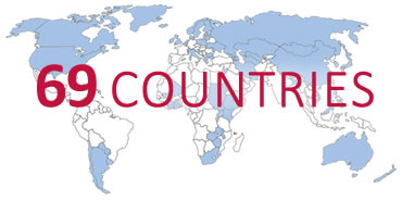 Graphic of the world, reading: 69 Countries
