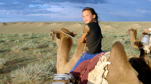 A young girl benefiting from USAID entrepreneurial activities in Dalanzadgad, Mongolia