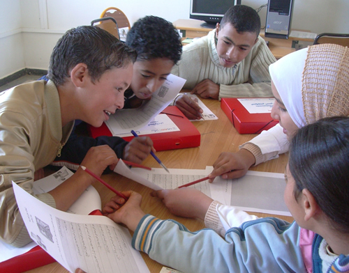 Image of young Morrocan children working together in a classroom