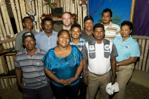 Nora Trino, governor of La Moskitia, front row center, with Miskito diver leaders and Belizean authorities during fisher-to-fish