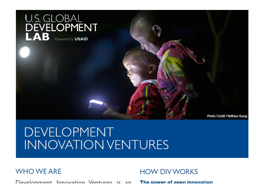 Development Innovation Ventures Factsheet