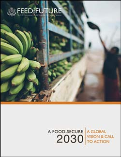 Cover of Food Secure 2030 showing green bananas