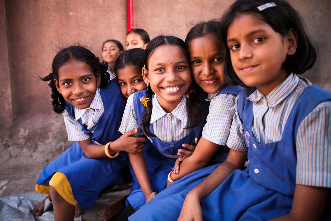 Girls from the SSRSVM Dharavi School in Mumbai, India.