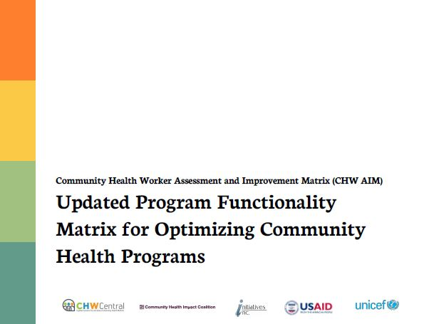 Cover graphic of the Community Health Worker Assessment and Improvement Matrix