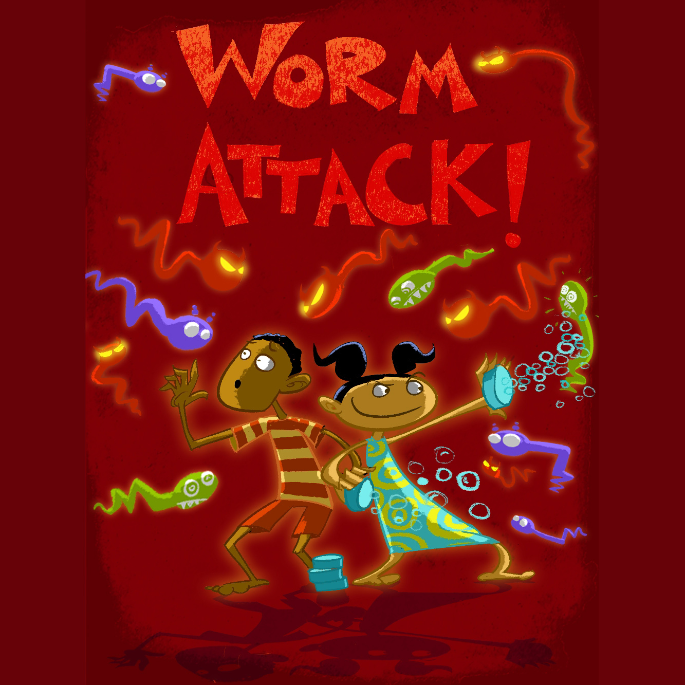 Title screen of Worm Attack! mobile game
