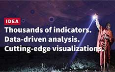 A young boy holds a flashlight focused down. IDEA. Thousands of indicators. Data-driven analysis. Cutting-edge visualizations.