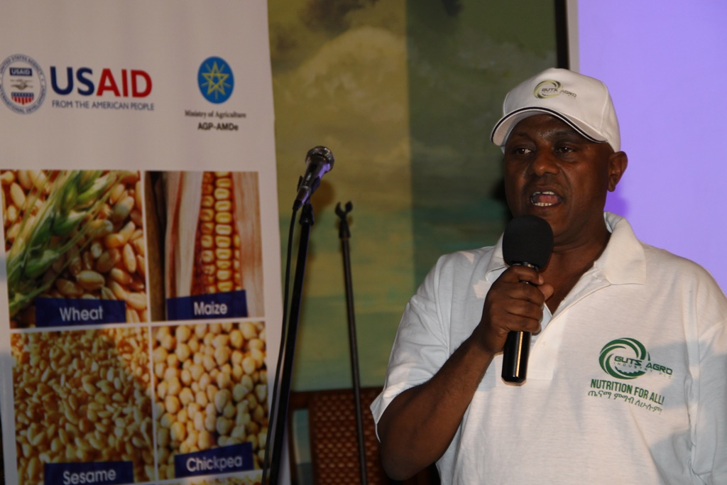 Engidu Legesse, the general manager of Guts Agro Industry at the launch of the company's new nutritious shiro product.