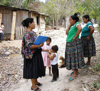 A community health worker in Guatemala.