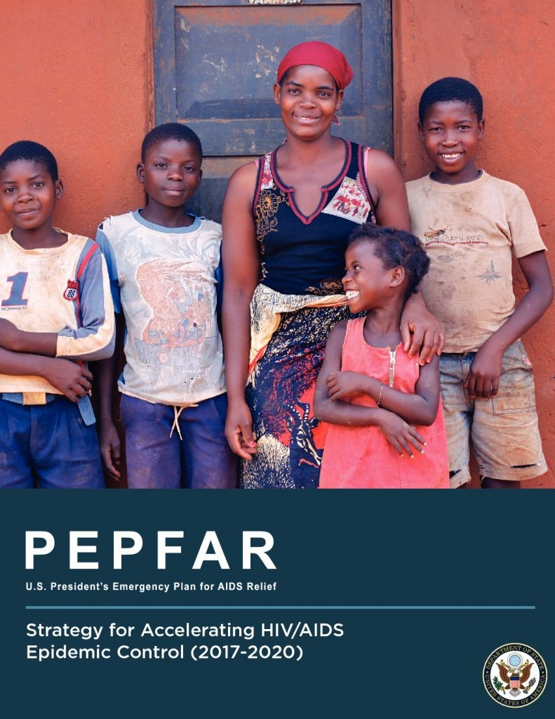 PEPFAR Strategy Cover image, showing a woman smiling with four children.