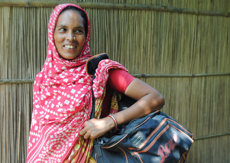 Off to work: Joytara, one of the women whose life has been changed for the better through JITA. Photo credit: Kathryn Richards/C