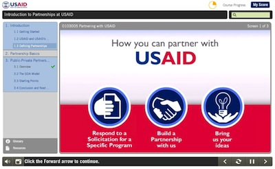 Screen shot of online course, Introduction to USAID Partnerships and the Global Development Alliance Model