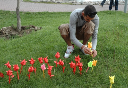 HIV outreach workers create a memorial for the lives lost to AIDS in Kazakhstan.
