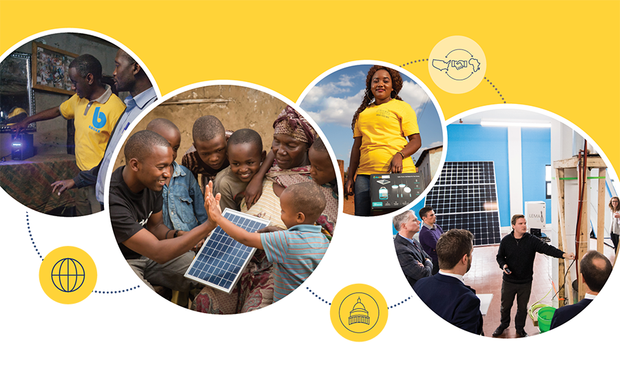 Collage of photos showing Power Africa's energy access work